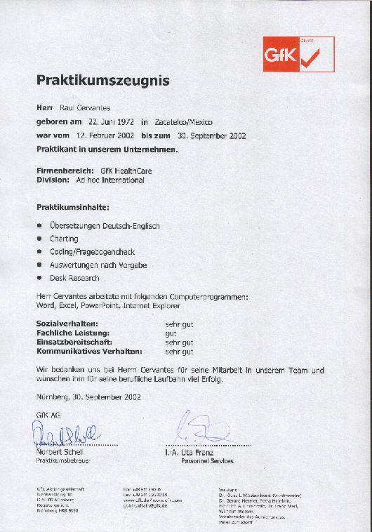 Internship Reference/ Praktikumszeugnis